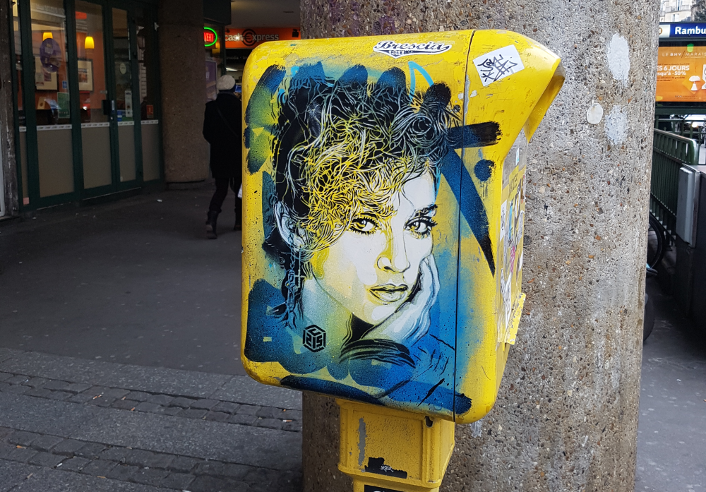 c215 street art paris madonna